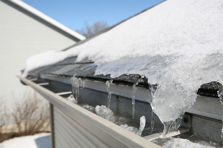 Protection against ice and water dams boise roofing for Roof leaking in winter